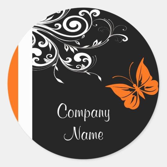 Orange Butterly Flourish Classic Round Sticker