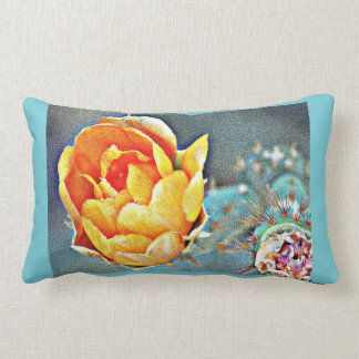 Orange Cactus Bloom Lumbar Pillow