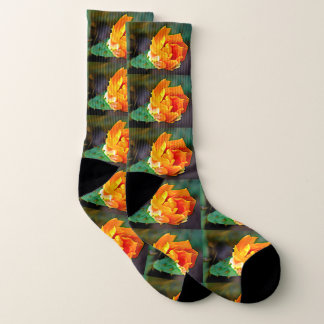 Orange Cactus Bloom Unisex Socks 1