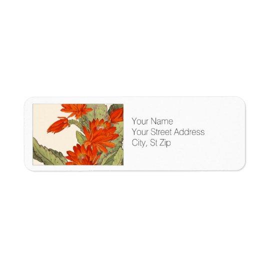 Orange Cactus Botanical Art Return Address Label