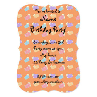 Orange cake pattern 13 cm x 18 cm invitation card