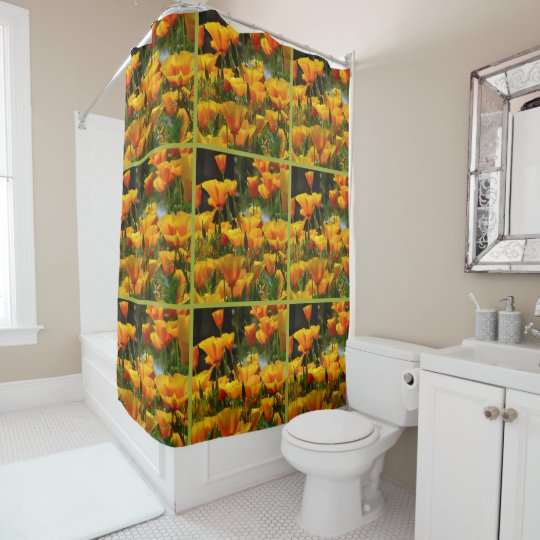 Orange California Poppies_3.2.g Shower Curtain