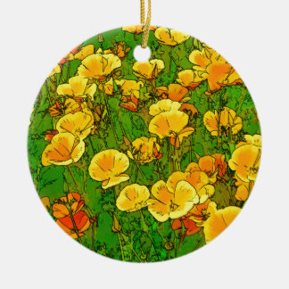 Orange California Poppies Christmas Ornament