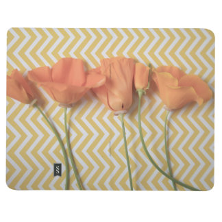 Orange California poppies on chevron background Journal