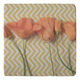 Orange California poppies on chevron background Trivet