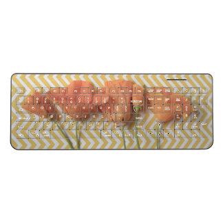 Orange California poppies on chevron surface Wireless Keyboard