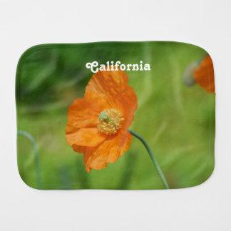 Orange California Poppy Burp Cloth