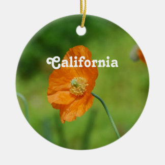 Orange California Poppy Christmas Ornament