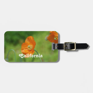 Orange California Poppy Luggage Tag