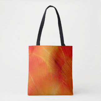 Orange Camelot Macaw Feather Abstract Tote Bag