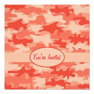 Orange Camo Camouflage Party Event Square 13 Cm X 13 Cm Square Invitation Card