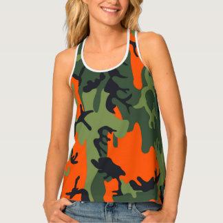 Orange Camouflage Design For Women Tank Top