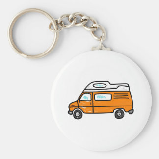 Orange Campervan Basic Round Button Key Ring