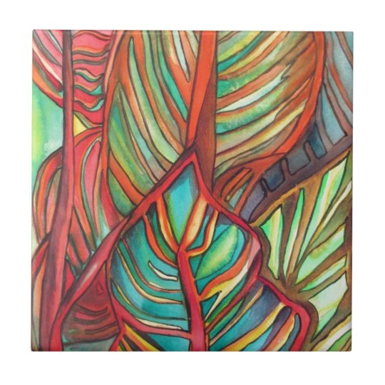 Orange Canna leaves watercolor original art Small Square