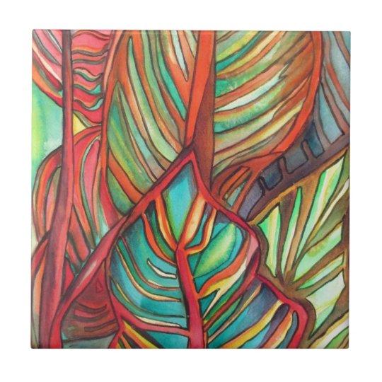 Orange Canna leaves watercolor original art Tile