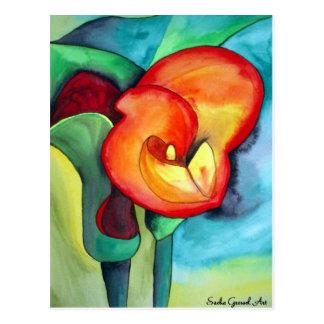 Orange Canna lily original watercolor art Postcard