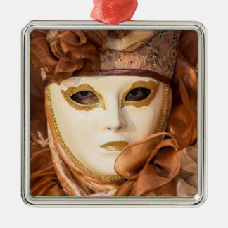 Orange Carnival costume, Venice Silver-Colored Square Decoration