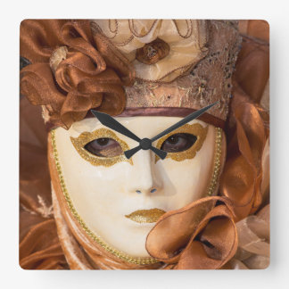 Orange Carnival costume, Venice Square Wall Clock