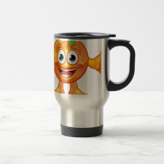 Orange Cartoon Fruit Mascot Character Travel Mug