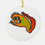Orange Cartoon Germ Round Ceramic Decoration