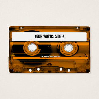Orange Cassette Tape Personalized Business Card