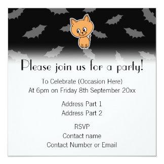 Orange Cat and Bats. 13 Cm X 13 Cm Square Invitation Card