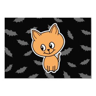 Orange Cat and Bats. 9 Cm X 13 Cm Invitation Card