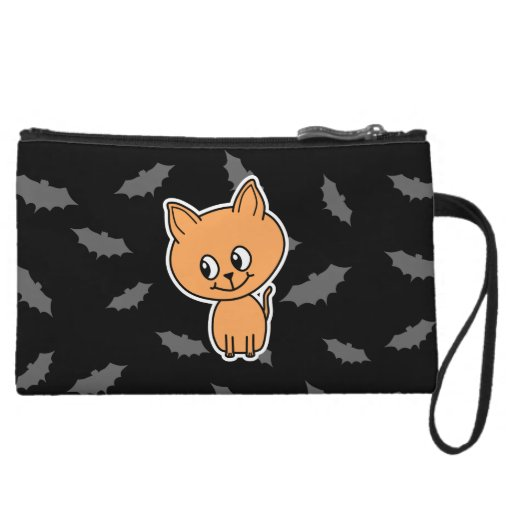 Orange Cat and Bats. Wristlet Clutches