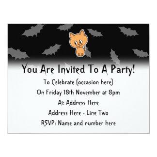 Orange Cat and Bats. Personalized Announcement