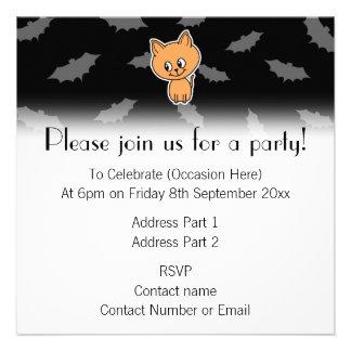 Orange Cat and Bats Invites