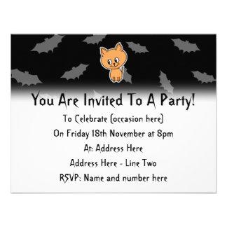 Orange Cat and Bats Personalized Announcement