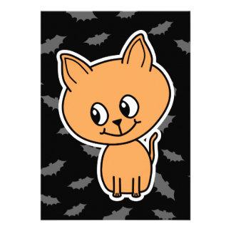 Orange Cat and Bats Personalized Invites