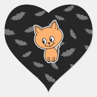 Orange Cat and Bats Sticker