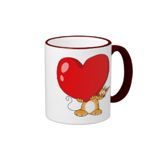 Orange cat carrying a big red heart coffee mugs