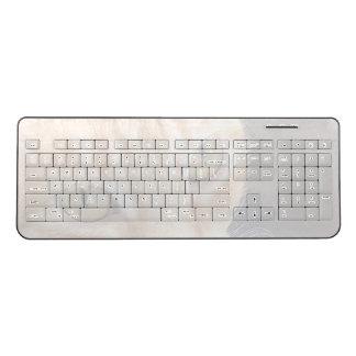 Orange cat closeup fade wireless keyboard