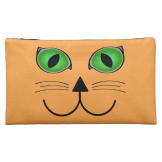 Orange Cat Face Cosmetic Bag