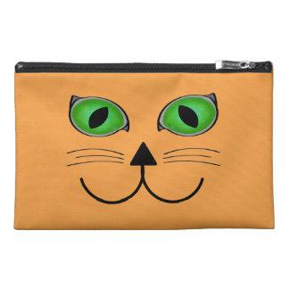 Orange Cat Face Travel Accessory Bags