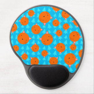 Orange cat face blue christmas trees gel mouse mats