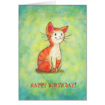 Orange Cat Greeting Card(customisable)