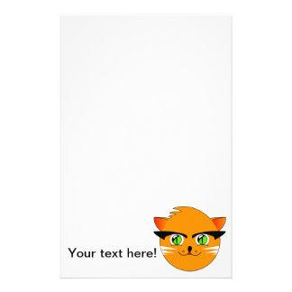 Orange cat head cartoon stationery paper