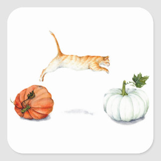 Orange Cat Jumping Between Pumpkins Square Sticker