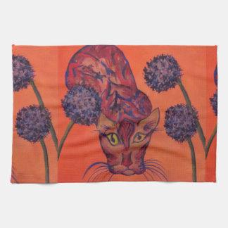 orange cat kitchen towel