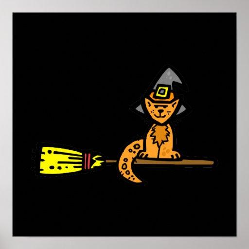 Orange cat on a broom posters