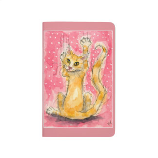Orange cat, pink polka dots journal
