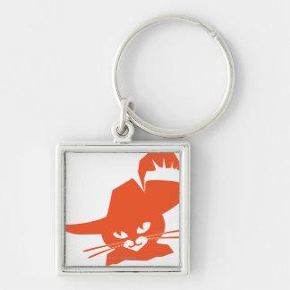 Orange Cat Silver-Colored Square Key Ring