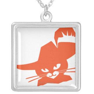Orange Cat Square Pendant Necklace