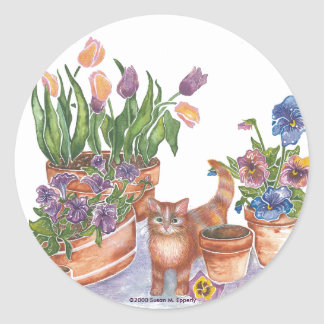 "Orange Cat Tulips Pansies Watercolor ""Archibald"" Round Sticker"