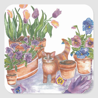 "Orange Cat Tulips Pansies Watercolor ""Archibald"" Square Sticker"