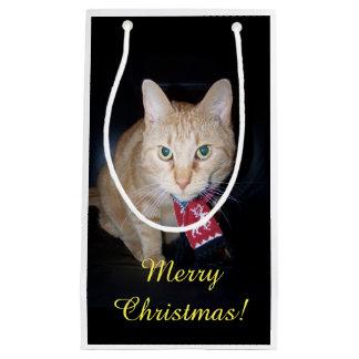 Orange Cat Wearing Scarf Christmas Gift Bag Small Gift Bag