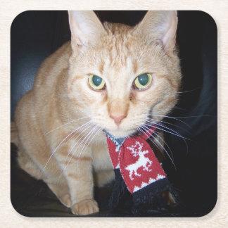 Orange Cat Wearing Scarf Paper Coaster Square Paper Coaster